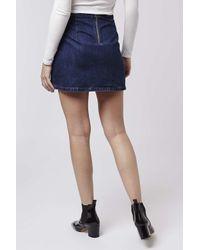 TOPSHOP | Blue Moto Indigo Clean A-line Skirt | Lyst