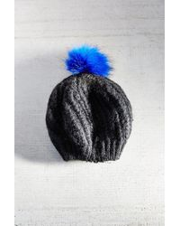 Urban Outfitters - Blue Faux Fur Pompom Beret - Lyst