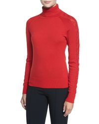 MILLY | Red Detailed Long-sleeve Turtleneck | Lyst
