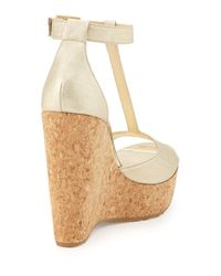 Jimmy Choo - Metallic Pela Leather Wedge Sandal - Lyst
