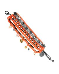 Venessa Arizaga | Orange Las Flores Gunmetalplated Charm Bracelet | Lyst