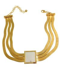 Tuleste | Metallic Gold Square Pendant With Silver Inlay | Lyst
