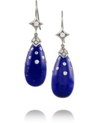 Fred Leighton | Blue Collection 18-Karat White Gold, Lapis And Diamond Earrings | Lyst