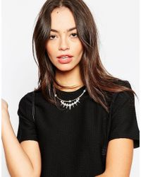 Pieces | Metallic Spike Choker Necklace | Lyst