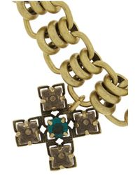 Tory Burch - Metallic Abella Goldtone Crystal Cross Bracelet - Lyst