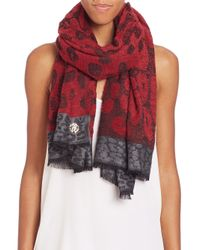 Roberto Cavalli | Red Animal-Print Woven Scarf | Lyst