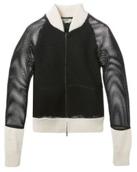 Fendi - Black Mesh Panel Bomber Jacket - Lyst
