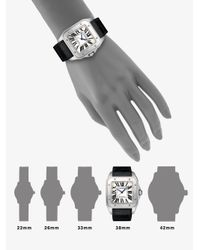 Cartier - Black Santos 100 Automatic Large Stainless Steel & Alligator Strap Watch - Lyst