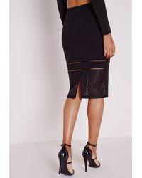 Missguided - Honeycomb Mesh Detail Midi Skirt Black - Lyst