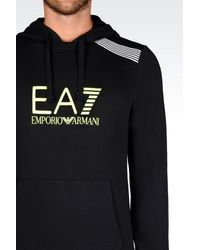 EA7 - Black 7colours Line Hooded Sweatshirt for Men - Lyst