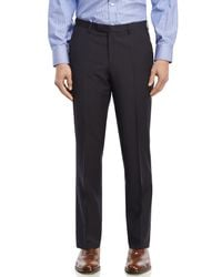 BOSS - Blue Tonal Check Flat Front Wool Dress Pants for Men - Lyst