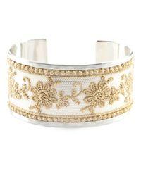 Chan Luu | Metallic Gold Lace Silver Open Cuff | Lyst