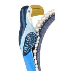 Masterpeace - Blue Toucan And Pearls Denim Headband - Lyst