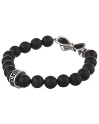 King Baby Studio | Black 8mm Onyx Bead Bracelet W/ Silver Bow | Lyst