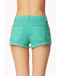 Forever 21 - Green Studded Denim Shorts - Lyst