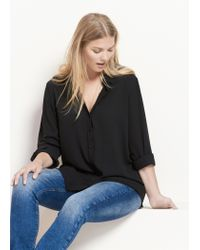 Violeta by Mango - Black Flowy Blouse - Lyst