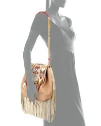 Etro - Natural Beaded Fringe Drawstring Satchel - Lyst