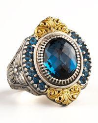 Konstantino - Metallic Pave London Blue Topaz Ring - Lyst