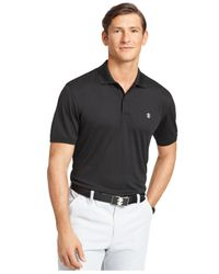 Izod - Black Textured Striped Performance Polo for Men - Lyst