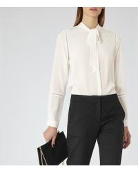 Reiss - White Carmel Stitch-detail Silk Blouse - Lyst