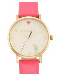 kate spade new york | Pink 'metro - Somewhere' Leather Strap Watch | Lyst