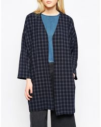 Native Youth - Blue Checked Duster Coat - Lyst