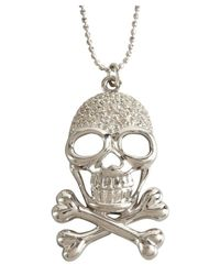 Sydney Evan | Metallic White Gold And Diamond Skull And Crossbone Pendant Necklace | Lyst