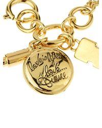 Diane von Furstenberg | Metallic Gold Plated Swarovski-crystal Pendant Bracelet | Lyst