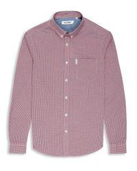 Ben Sherman   Red Mini Mod Check Long Sleeve Shirt for Men   Lyst