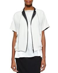 Lafayette 148 New York - White Amari Two-tone Topper - Lyst