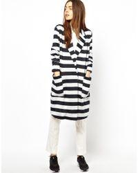 ASOS | Black Coat In Light Weight Stripe | Lyst