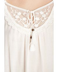 Forever 21 | Natural Lace Accented Gauze Top | Lyst