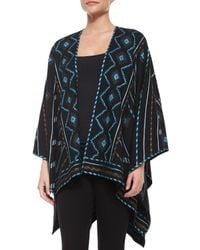 Talitha - Blue Geeti Zigzag Striped Embroidered Poncho - Lyst