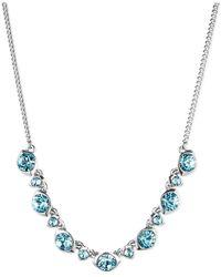 Givenchy - Blue Silver Tone Aqua Swarovski Element Frontal Necklace - Lyst