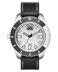 Adidas Originals - Black 'adh-1969' Leather Strap Watch for Men - Lyst
