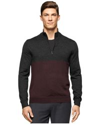 Calvin Klein - Brown Quarter-zip Sweater for Men - Lyst