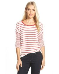 Caslon - Orange Mix Stripe Tee - Lyst