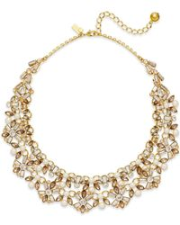kate spade new york - Metallic 12k Gold-plated Imitation Pearl And Crystal Statement Necklace - Lyst