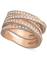 Swarovski | Metallic Rose Gold-Tone Crystal Crossover Ring | Lyst