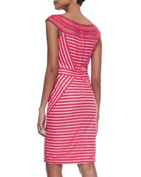 Tadashi Shoji - Multicolor Mesh-neck Cap-sleeve Striped Dress - Lyst