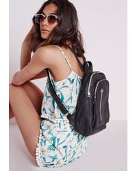 Missguided | Rounded Zip Detail Backpack Black | Lyst