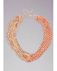Bebe | Red Chain Link Necklace | Lyst