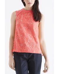 Oasis - Orange Leaf Lace High Neck Shell Top - Lyst