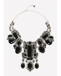 Bebe | Black Large Crystal Bib Necklace | Lyst