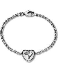 1f4b34abcf8 Gucci Flora Sterling Silver Heart Bracelet in Metallic - Lyst