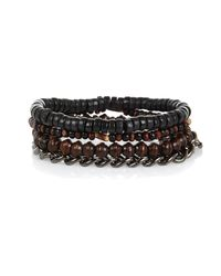 River Island - Brown 4 Pack Bracelets for Men - Lyst