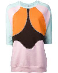 Carven - Orange Panelled Front Sweatshirt - Lyst
