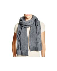Tory Burch - Gray Cable Knit Scarf - Lyst