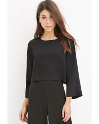 Forever 21   Black Contemporary Dolman-sleeved Crop Top   Lyst