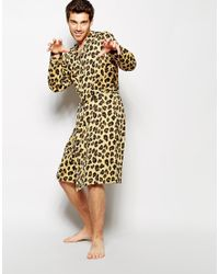 ASOS Dressing Gown In Leopard Print in Yellow for Men - Lyst 03b55470f
